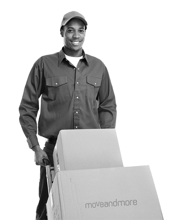 Black man moving office boxes