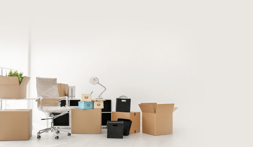 Stacked boxes before a planned office move